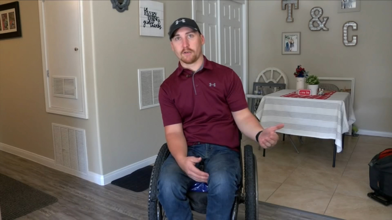 A paraplegic high school football coach from California is claiming he had to scoot down the aisle of a United Airlines plane in order to make his flight because the airline failed