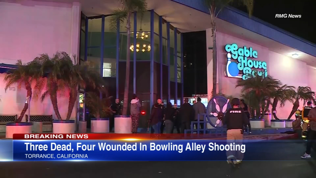 Three are dead and four are wounded after a shooting in a California bowling alley.