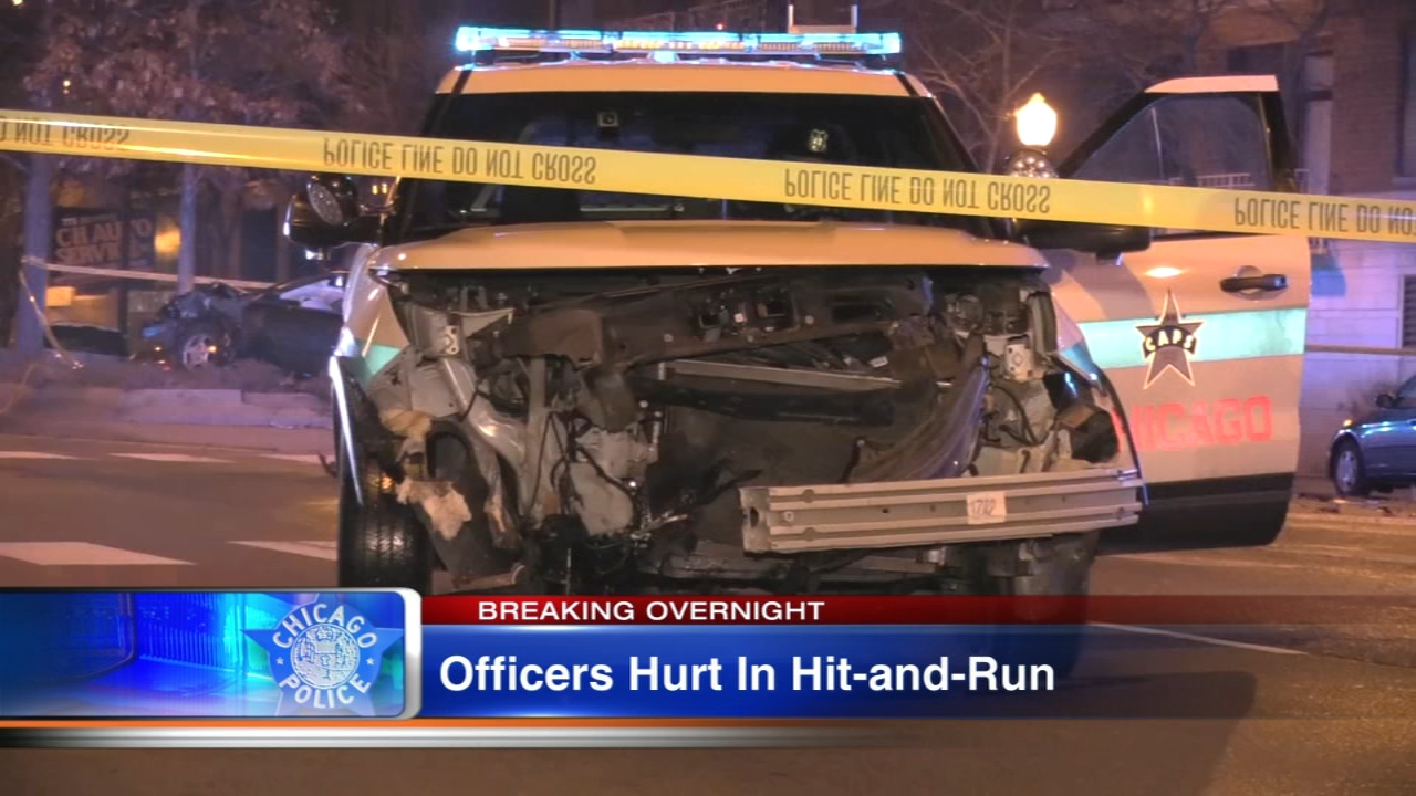 Two Chicago Police officers were hurt in a hit-and-run accident early Saturday.