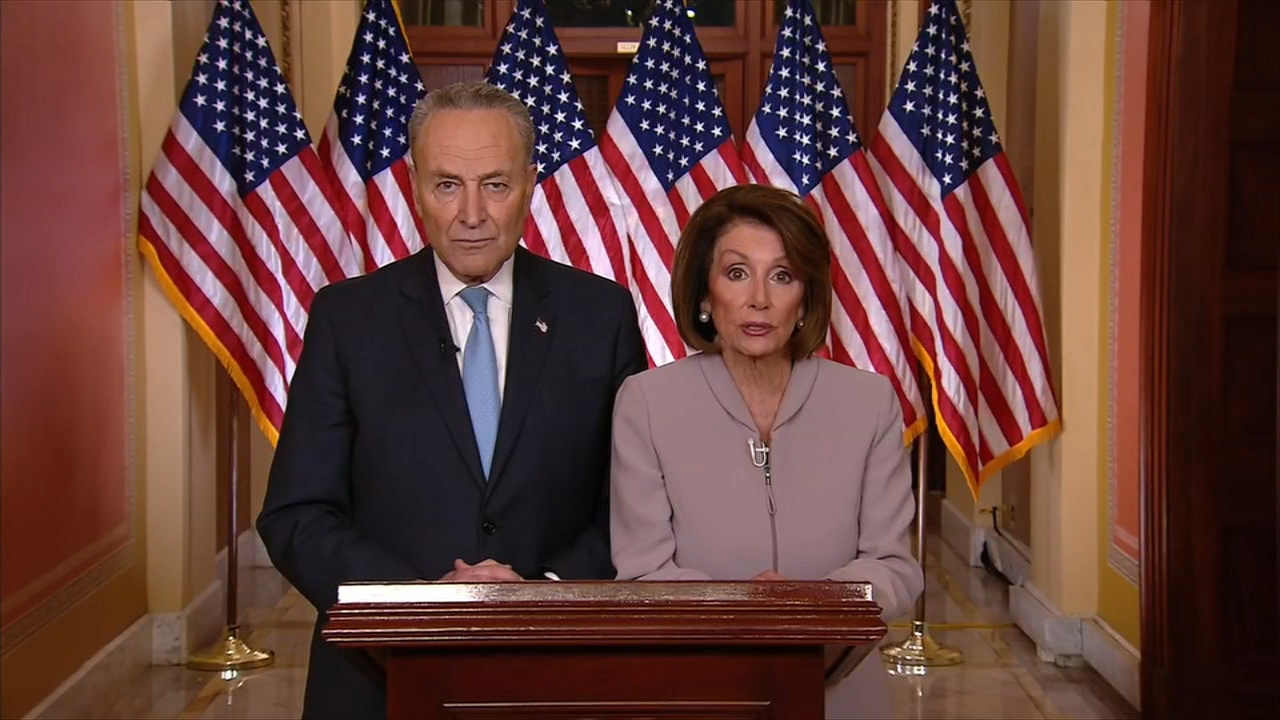 Speaker of the House Nancy Pelosi and Senate Minority Leader Chuck Schumer deliver Democratic rebuttal to Trumps border security speech.