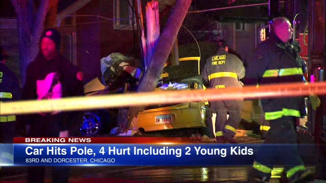 Chicago fire officials said four people were injured, including two children, were injured in a serious car crash on the citys South Side Thursday evening.