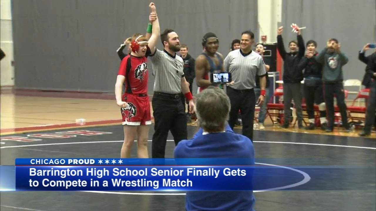 During senior night at Barrington High School, the boys wrestling team honored their team manager, who has special needs.