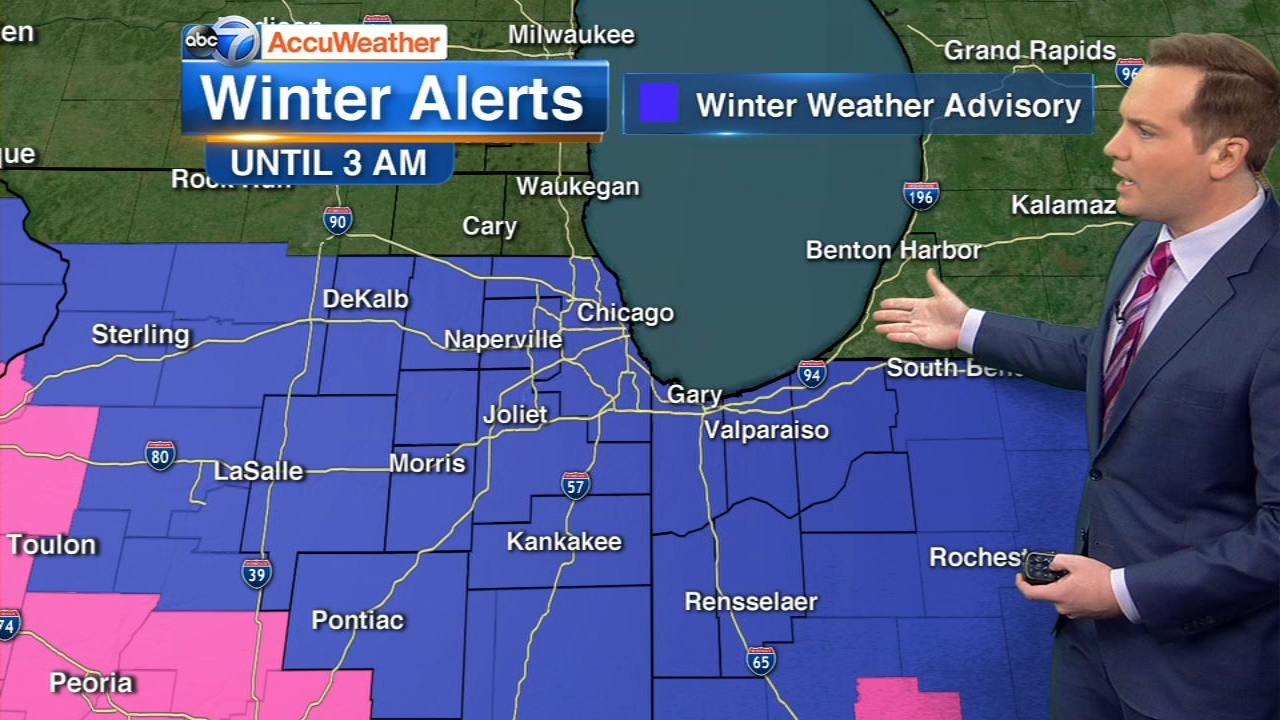 A Winter Weather Advisory is in effect until 3 a.m. Sunday.