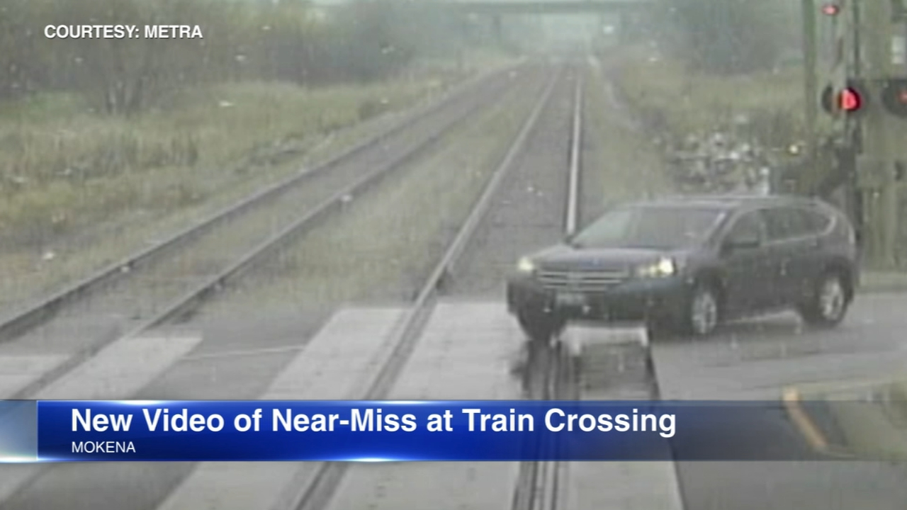 New video shows an SUV as it narrowly missed being hit by a Metra train when a crossing gate failed to close.