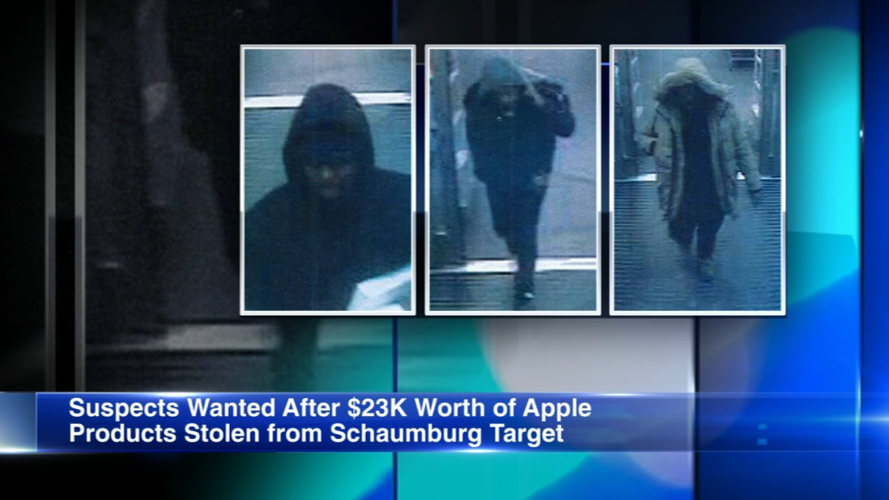 Three thieves got away with $23,000 worth of Apple products at a Schaumburg Target Thursday.
