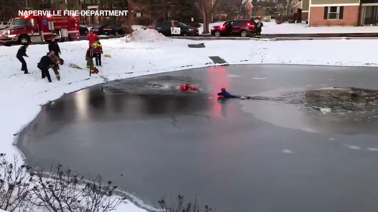 An 11-year-old boy fell through the ice in Naperville.