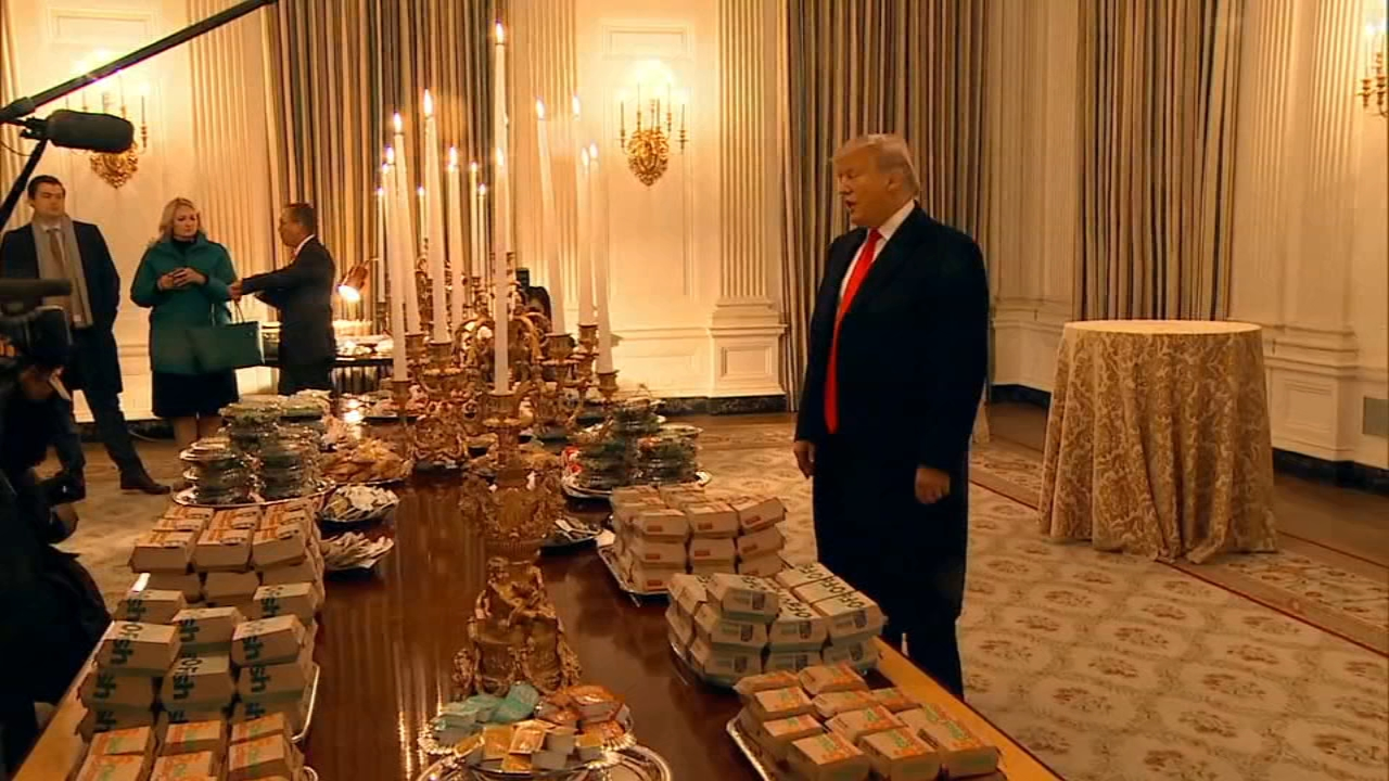 President Donald Trump personally paid for a spread of fast food to welcome college football champs Clemson. White House chefs are furloughed due to the shutdown.