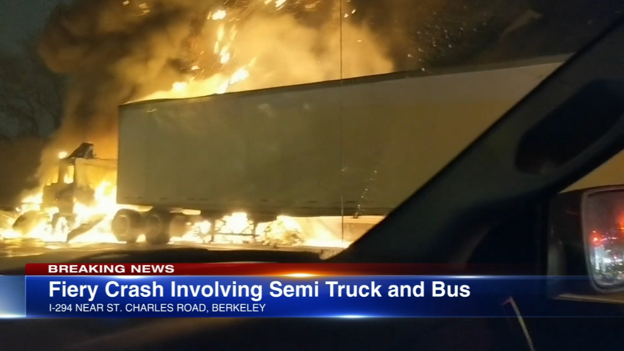 A fiery truck crash closed lanes near St. Charles Road for a few hours in northwest suburban Berkeley Monday night.