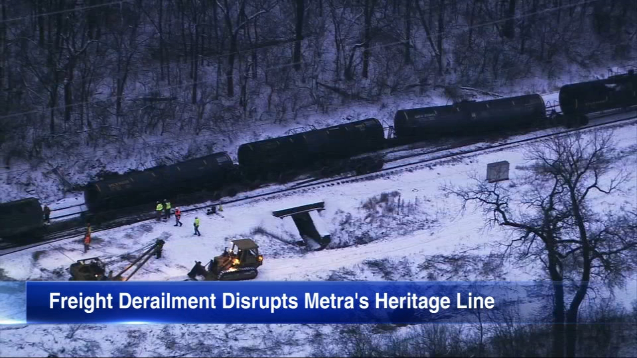 A derailment resulted in five cars on their sides, one of which was carrying plastic resin, according to a statement from Canadian National.