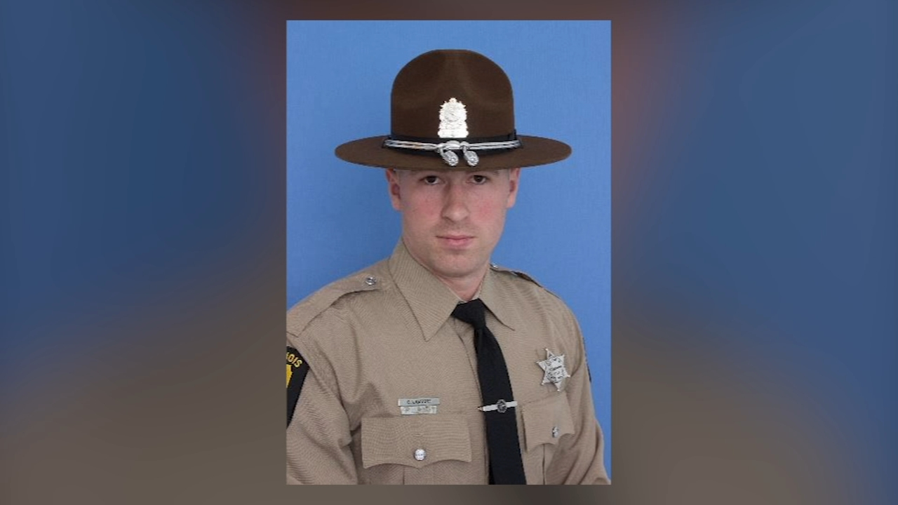 Illinois State Police Trooper Chris Lambert, 34, was killed in a crash Saturday on I-294 in Northbrook.
