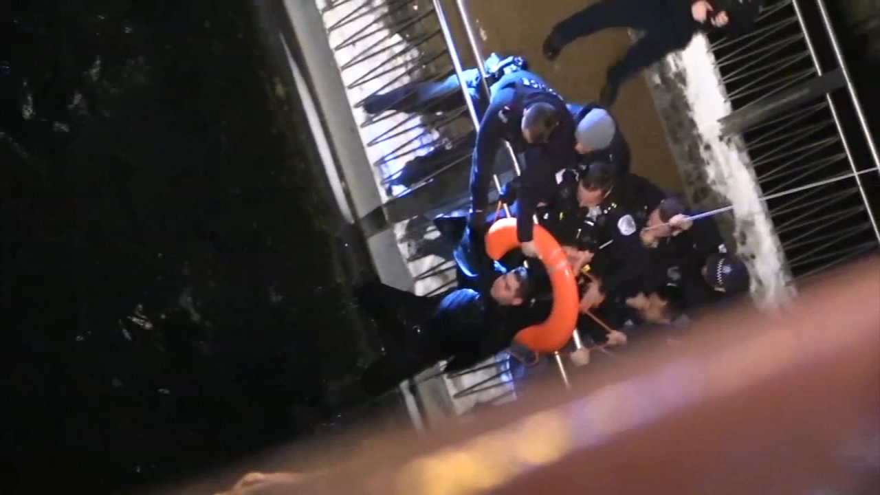 Chicago police officers pulled man from out of the frigid waters of the Chicago River in the Loop Tuesday morning.
