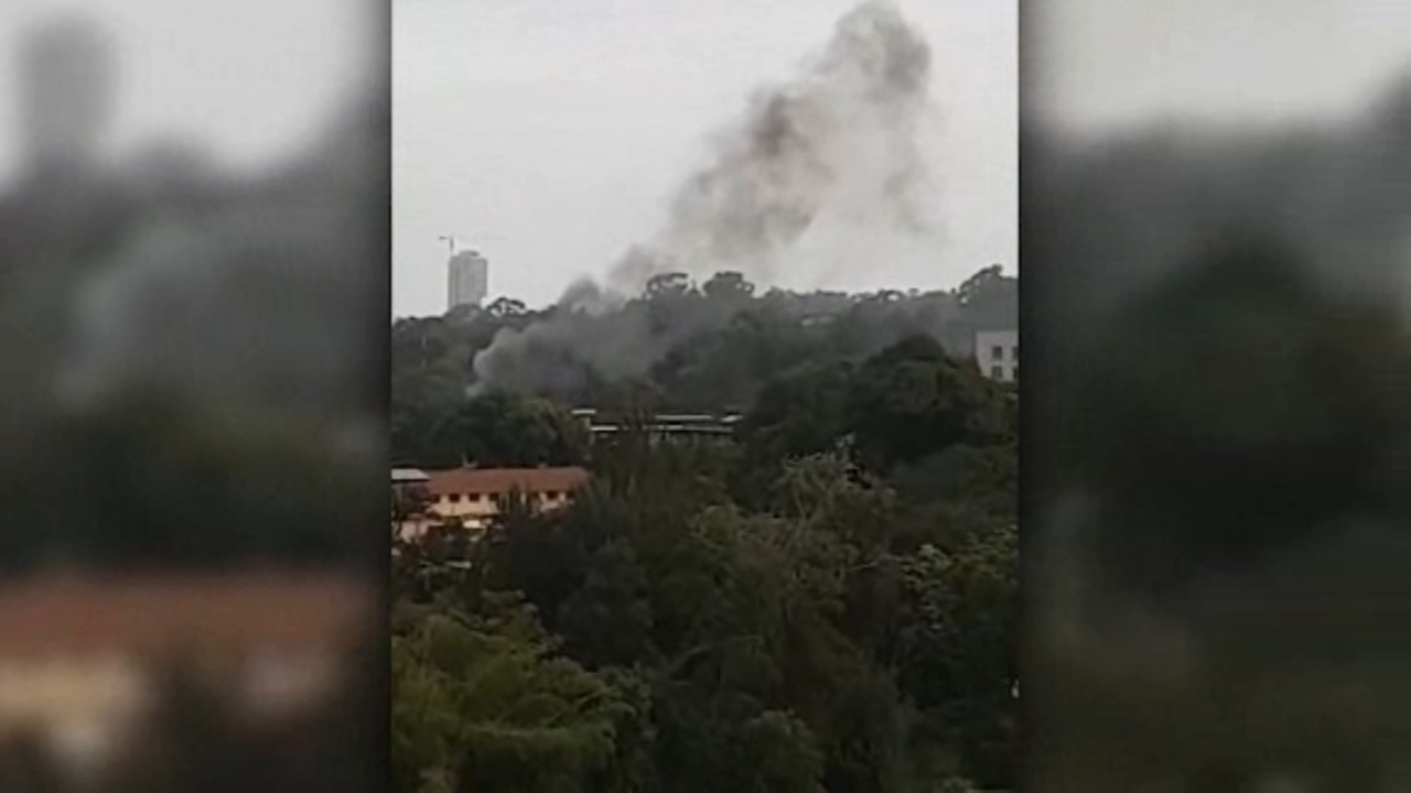 Smoke rises from a boutique hotel in Nairobi, Kenya after an explosoin and gunfire Tuesday.