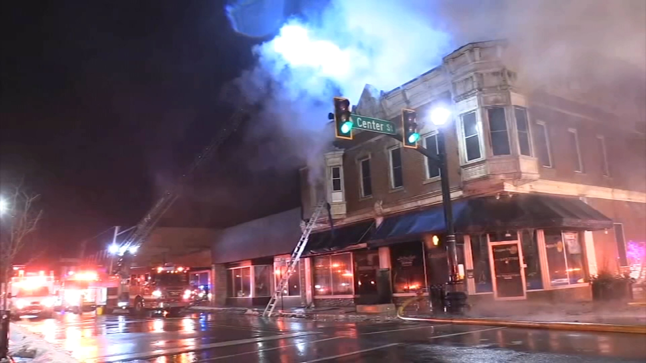 A huge fire tore through a historic building downtown Hobart, Ind. Tuesday night.