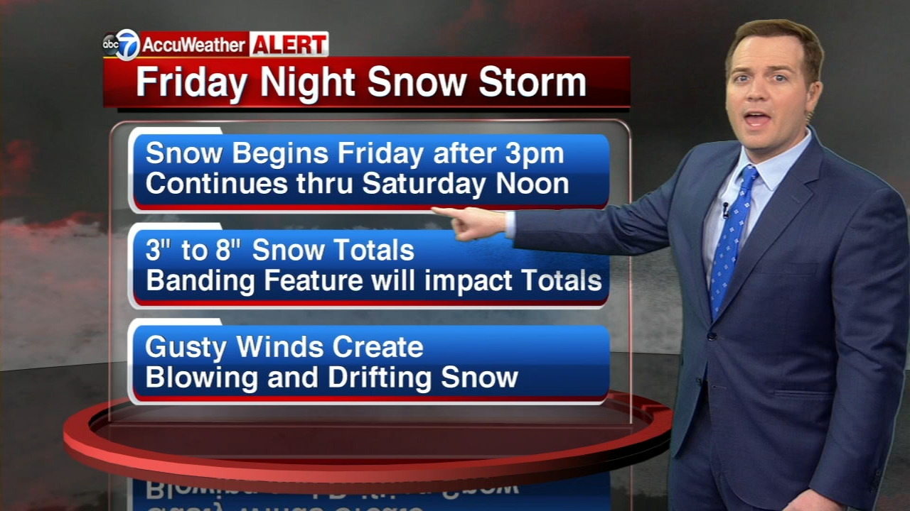 ABC7 Meteorologist Larry Mowrys latest update on the 3 to 8 inches of snow expected to fall on the Chicago area beginning Friday night through Saturday.