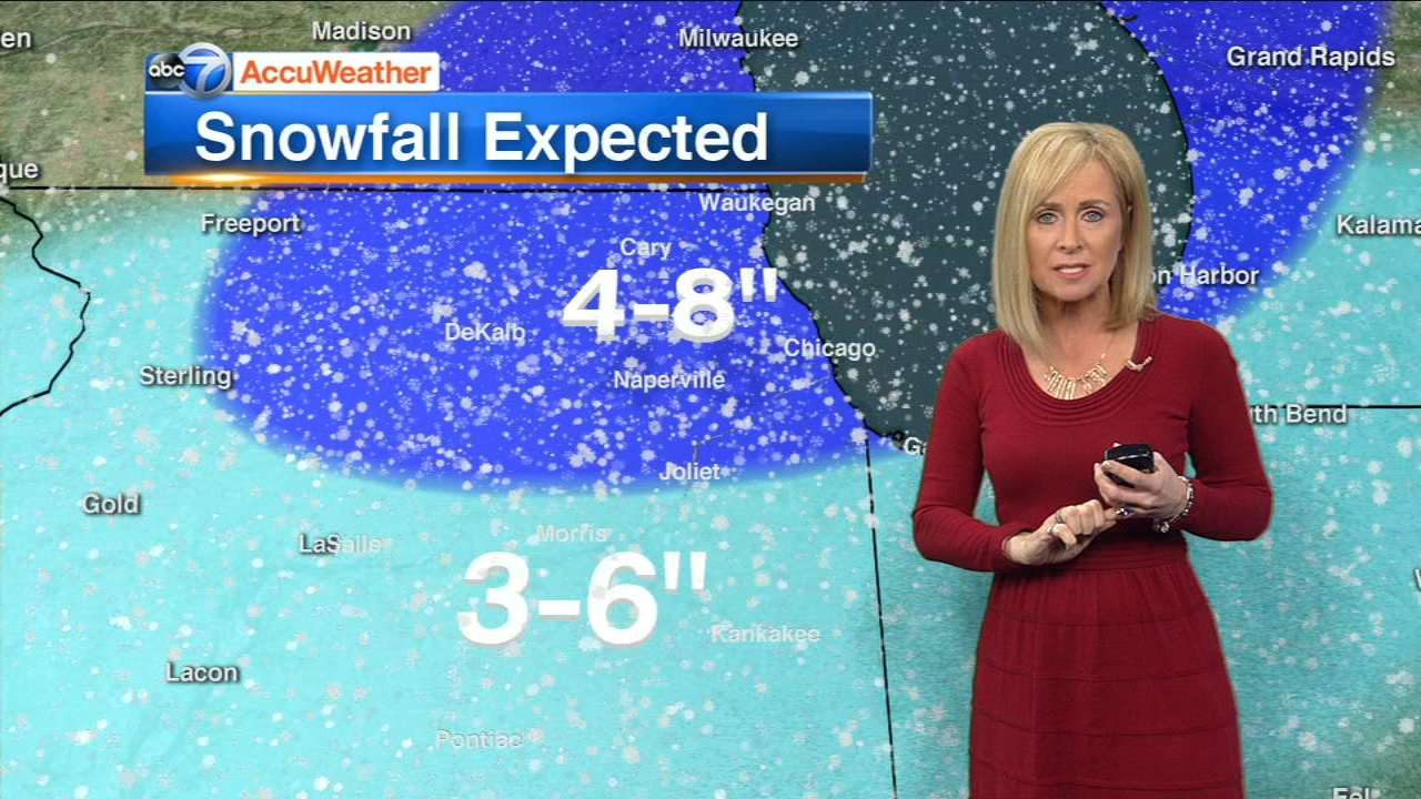 Snow will begin falling Friday afternoon into Saturday morning in the Chicago area, leaving behind 3 to 8  inches.
