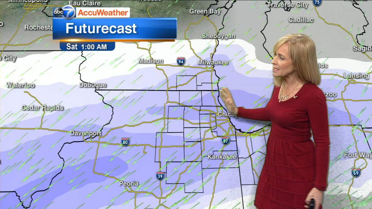 Snow will fall Friday night into Saturday morning in the Chicago area, leaving behind 3 to 8  inches for many areas.