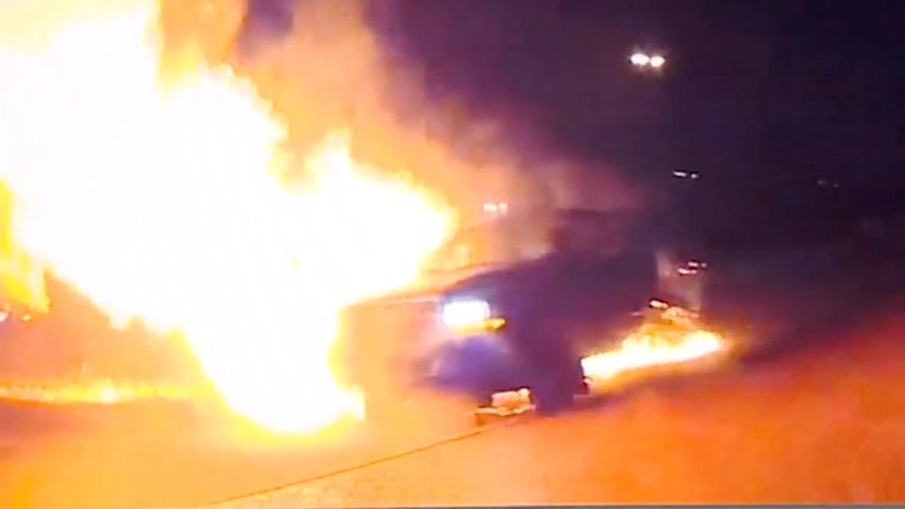 Dramatic dashcam and bodycam video out of Texas shows a pickup burst into flames after a suspected drunk driver crashed into it.