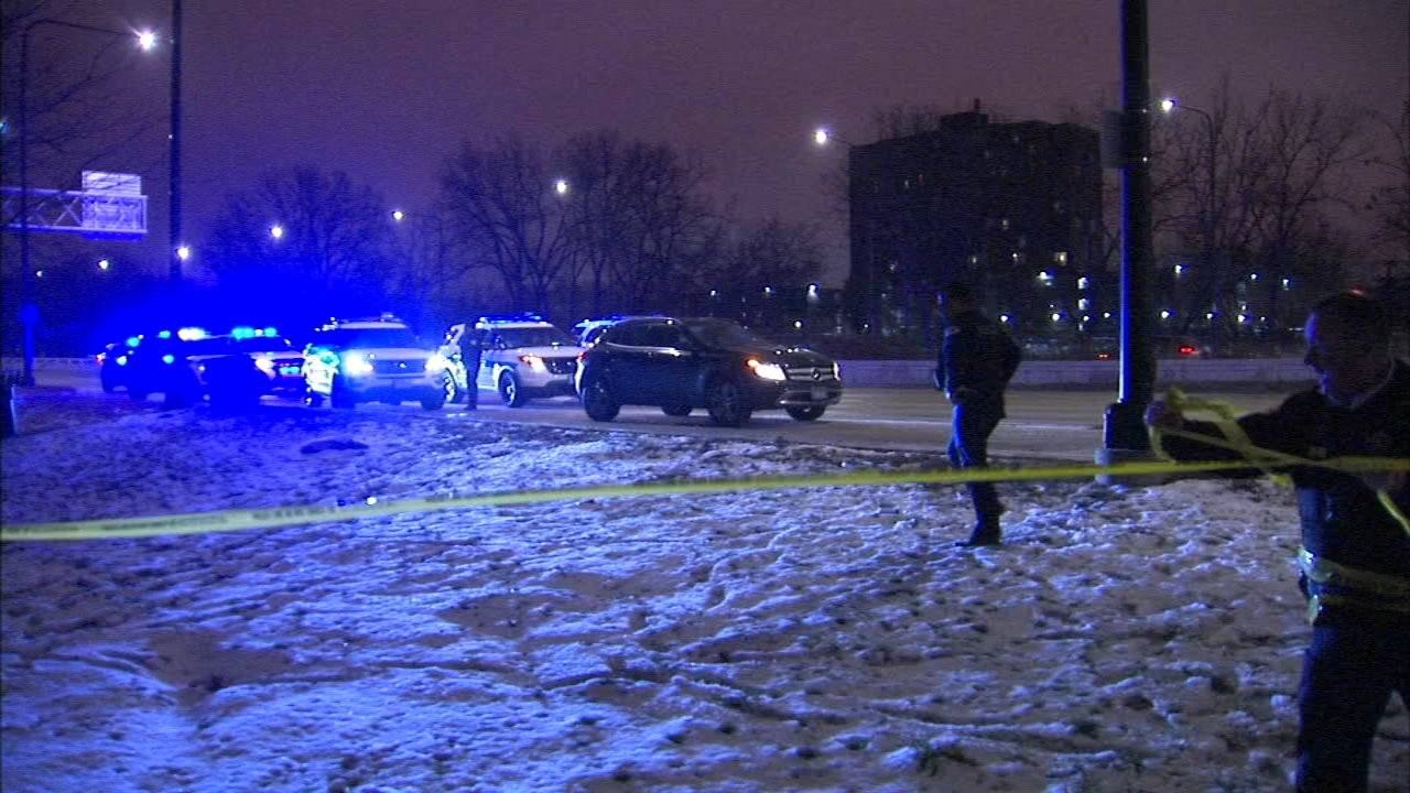 A woman was injured by broken glass when the car she was driving was shot at on Lake Shore Drive.