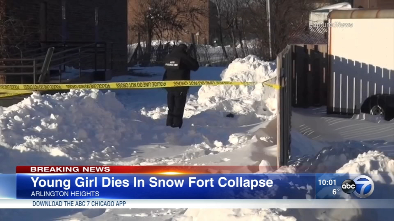 Two girls, ages 9 and 12, became trapped under a snow fort they had built outside an Arlington Heights church. The 12-year-old girl died.