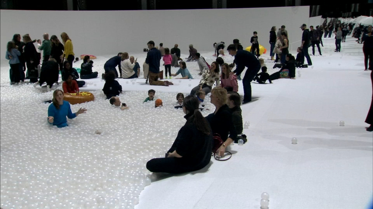 Created by New York-based designers, Snarkitecture, The Beach Chicago is an immersive art installation, which consists of a large, open room filled with more than a million antim