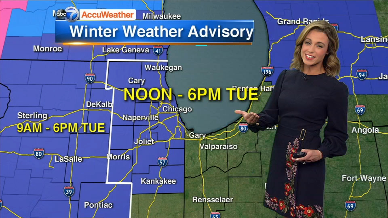 A Winter Weather Advisory was issued for the Chicago area on Tuesday, which could cause a messy evening commute.