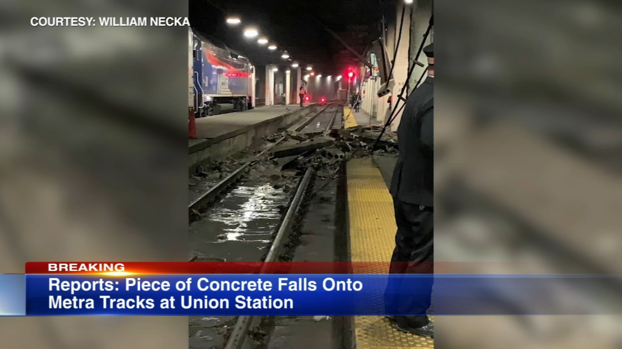 Metras Milwaukee District line was impacted Tuesday evening as officials investigated reports of concrete falling on tracks at Union Station in Chicago.