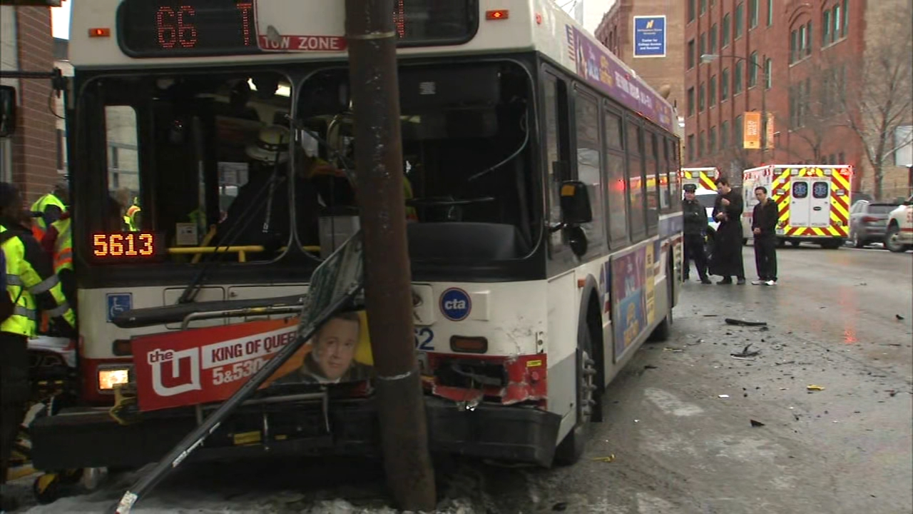 A bus crash happened at 1:47 p.m. near Chicago Avenue and Peoria Street, police said.
