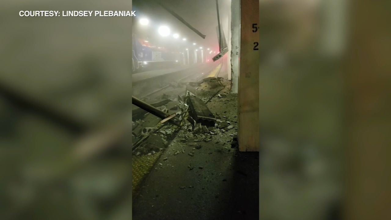 Concrete pieces fell onto the tracks at Union Station during Tuesdays rush hour.