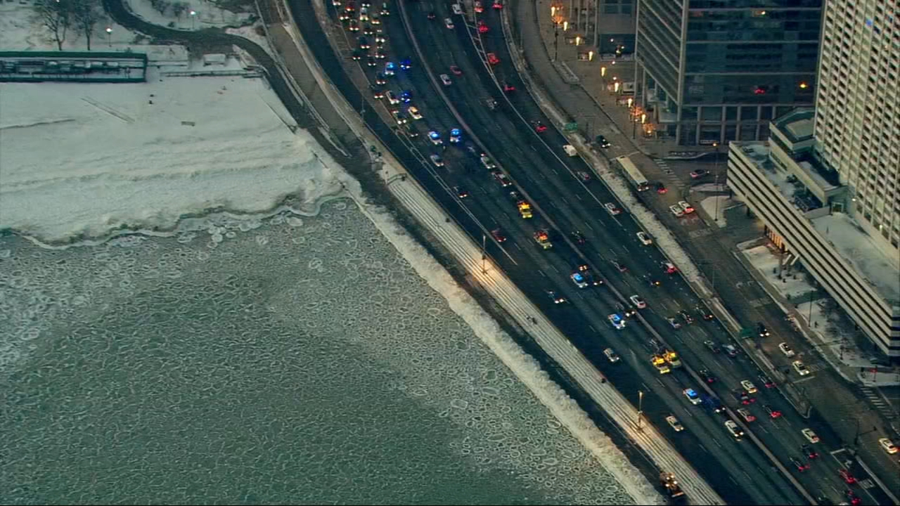 Two crashes involving up to 10 vehicles have blocked lanes of northbound Lake Shore Drive Thursday morning.