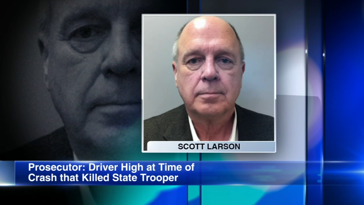 Scott Larson, 61, was charged in the crash that killed Illinois State Police Trooper Chris Lambert.
