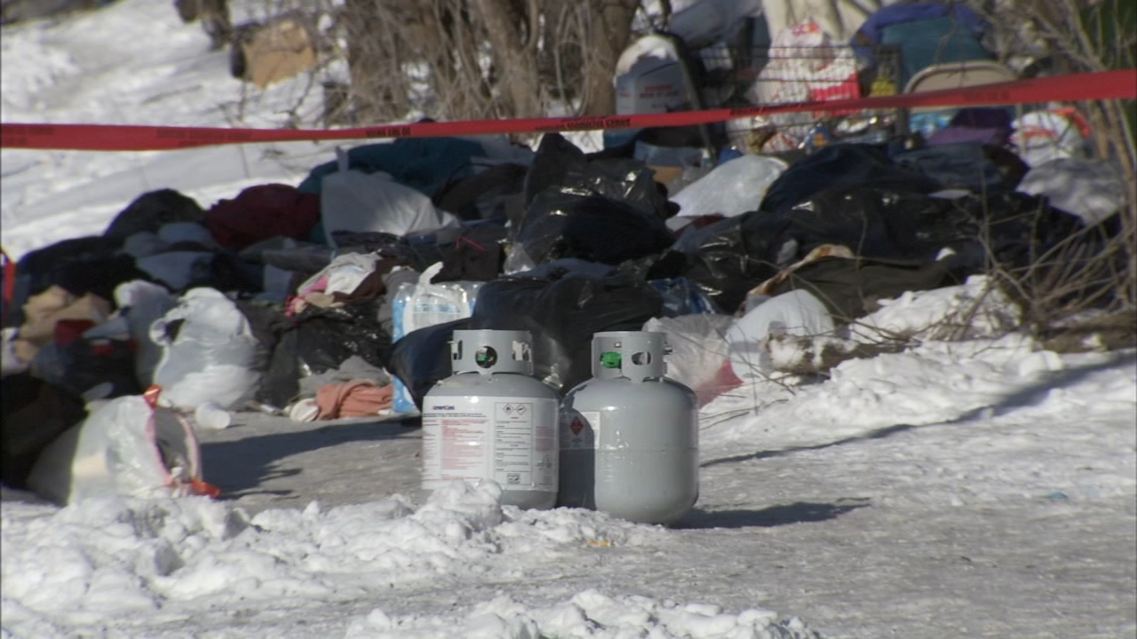 Between 150 and 200 propane cylinders were found Wednesday at a South Loop homeless encampment.