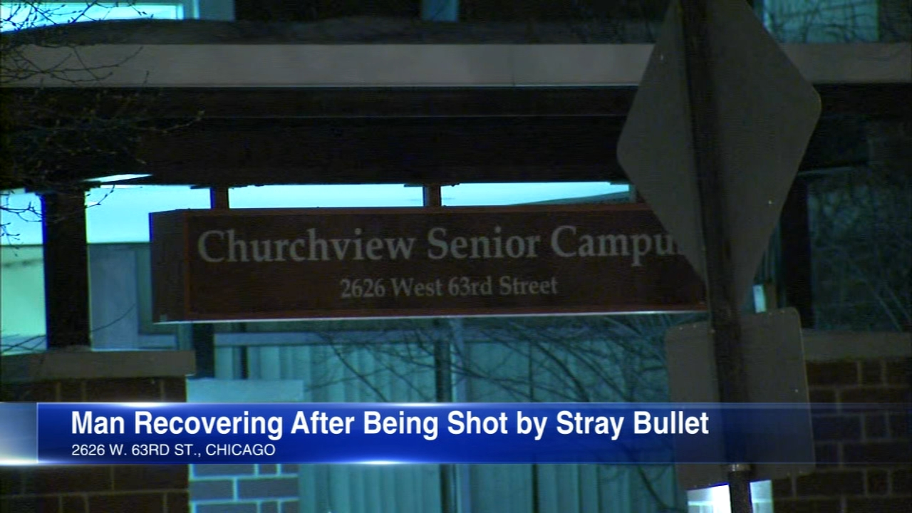 A 67-year-old man was shot in the head Tuesday while sitting inside his Southwest Side apartment.