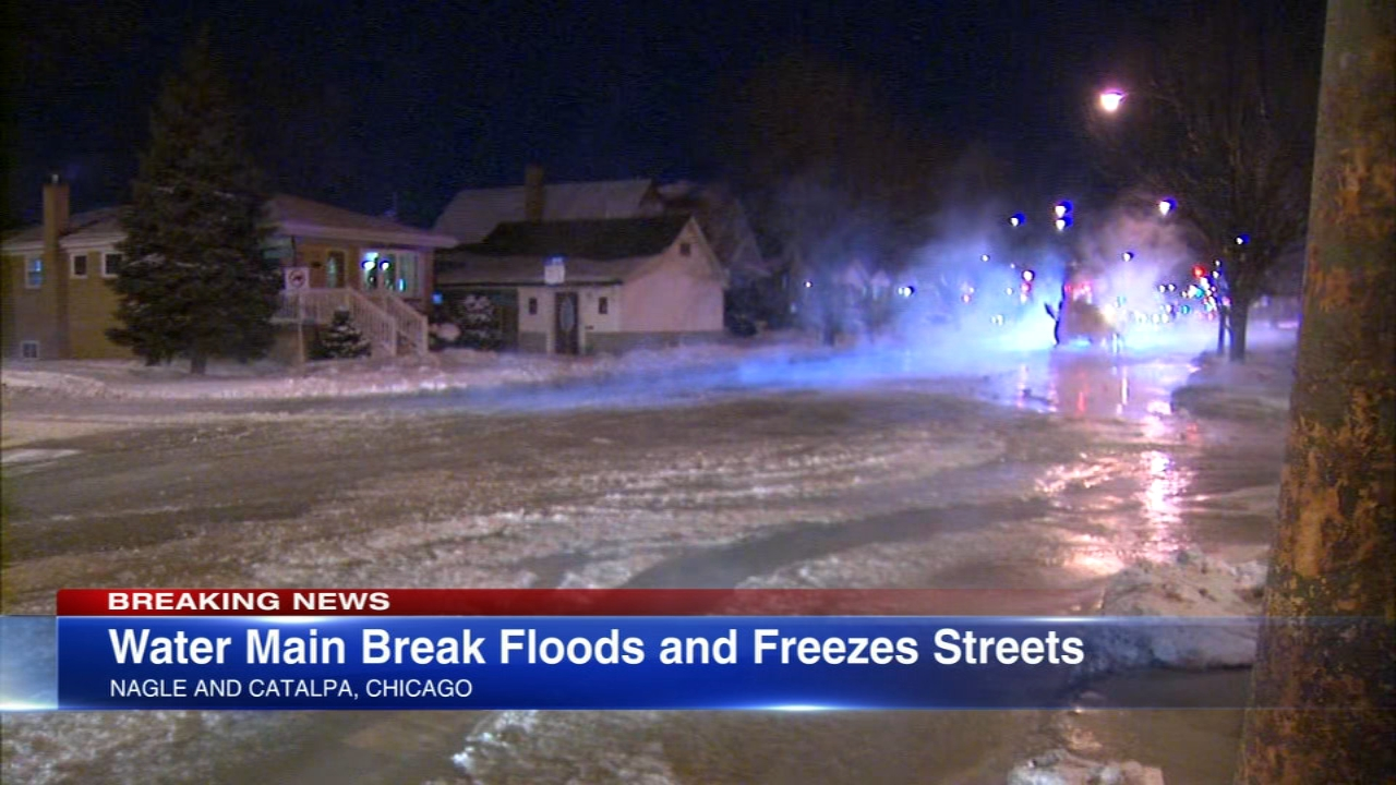 As if the freezing cold wasn't enough, a 12-inch water main broke on the far Northwest Side, flooding and freezing streets.