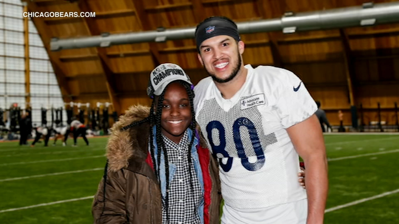 An 8th grader from Chicagos Austin neighborhood is marking many firsts this weekend thanks to the Chicago Bears Trey Burton.