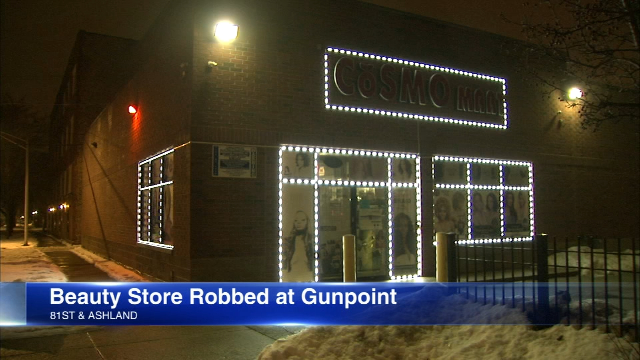 Police say they are looking for a man suspected of robbing a South Side beauty store Saturday.