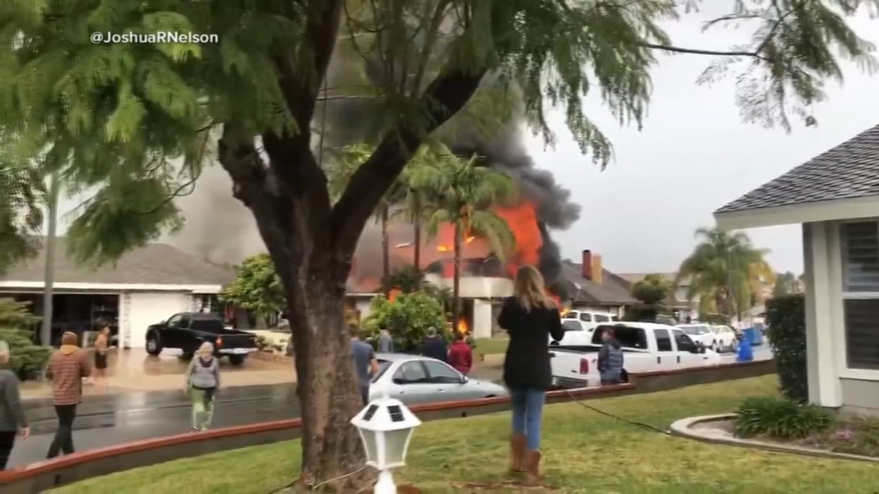 Five people were killed and two others were burned Sunday afternoon after a small plane crashed in a Yorba Linda neighborhood, authorities said.