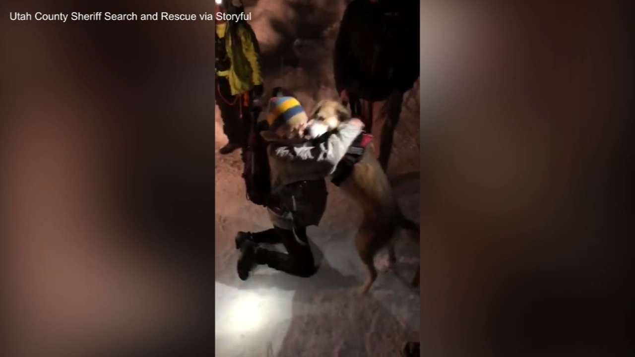 A womans emotional reunion with her dog was caught on camera after it fell 40 feet under a snow bridge created by an avalanche.