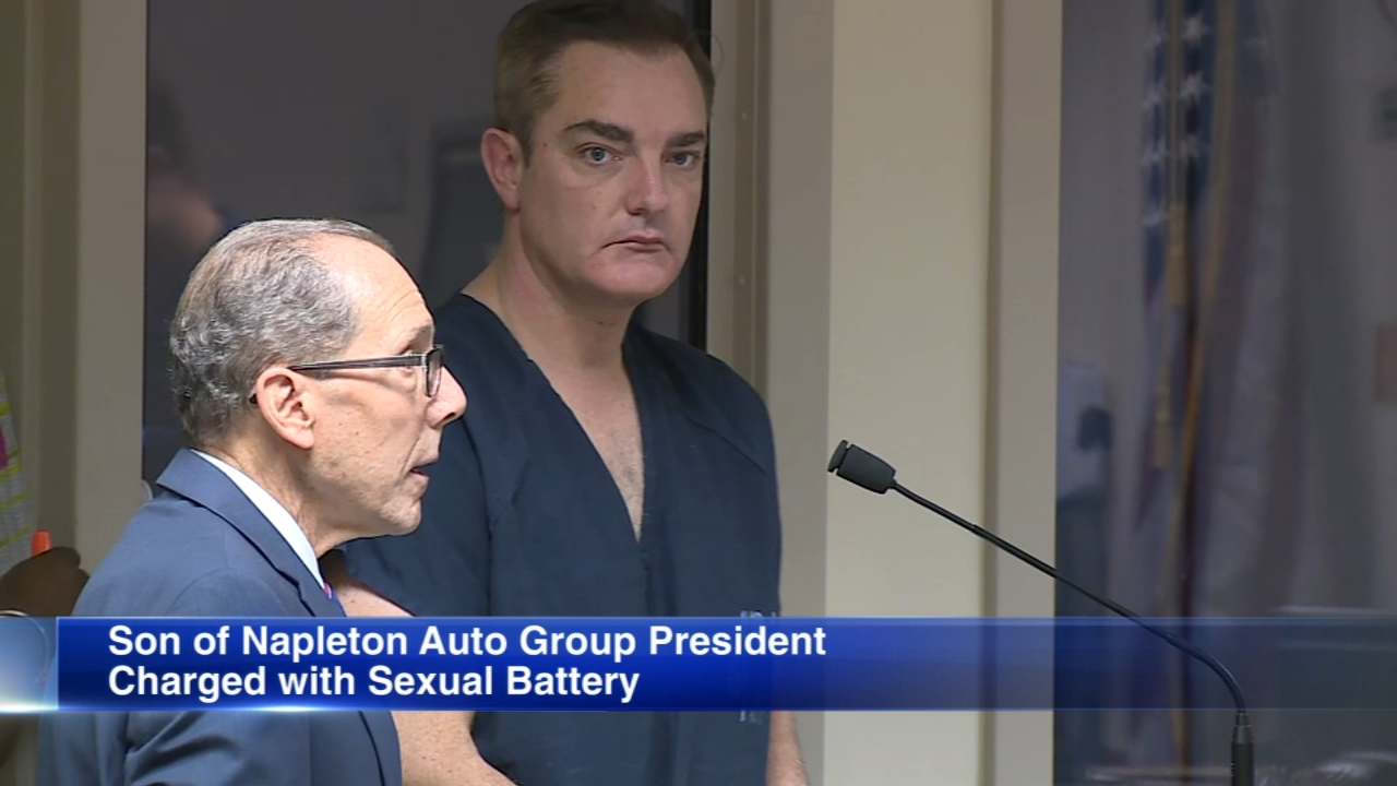 Edward Napleton Jr., whose family owns Napleton Auto Group, appeared in court on Monday after he was charged with sexual battery.