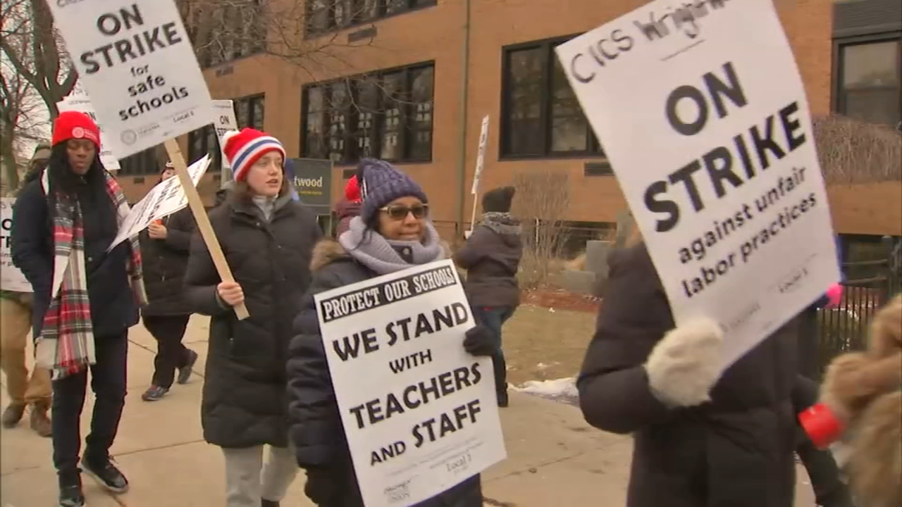 Teachers at four charter schools operated by CICS went on strike Tuesday morning.