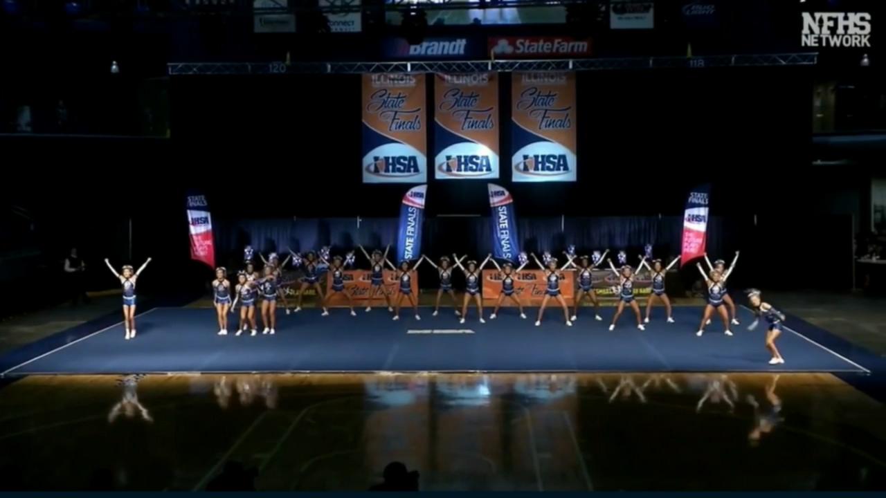 The Lincoln-Way East High School girls' varsity cheerleading team won the 2019 IHSA Girls Competitive Cheer Championship.
