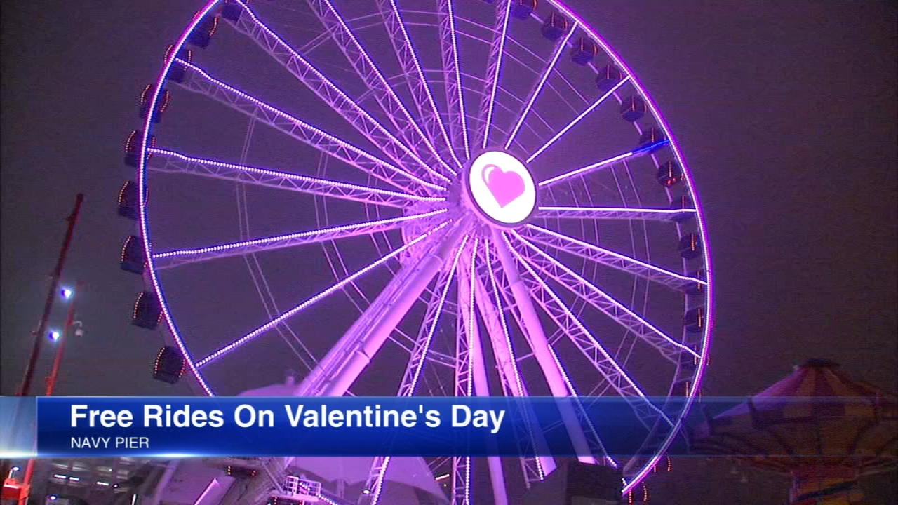 Navy Pier is offering couples a romantic ride on the iconic Centennial Wheel on Feb. 14 in honor of Valentines Day.
