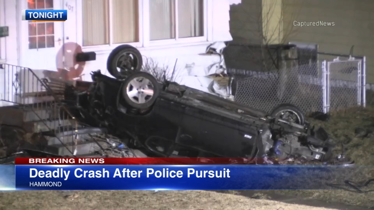 Police said the driver of a car was killed after crashing into a house following a police pursuit in Northwest Indiana.