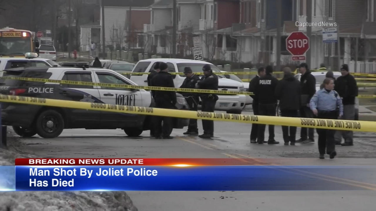 A Joliet police officer fatally shot a man in the 200 block of South Des Plaines Street while investigating a bank robbery earlier in the day.