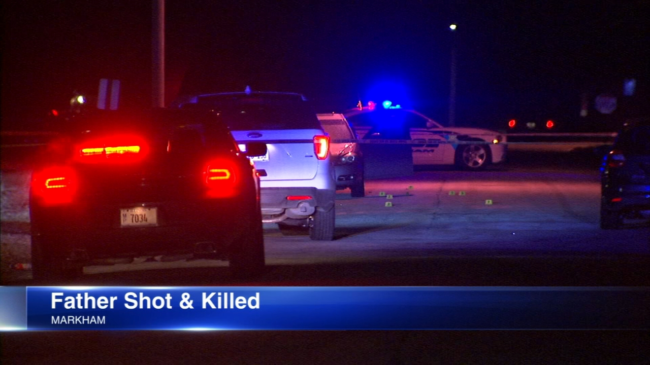 A young father was shot and killed in his car with his baby boy right in the back seat in south suburban Markham Tuesday night.