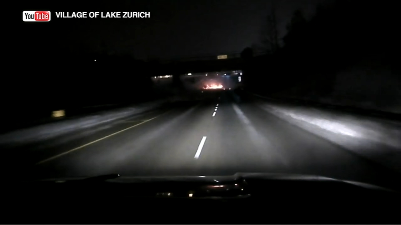 Police in Lake Zurich have shared video of a fiery crash, hoping it will serve as a warning.