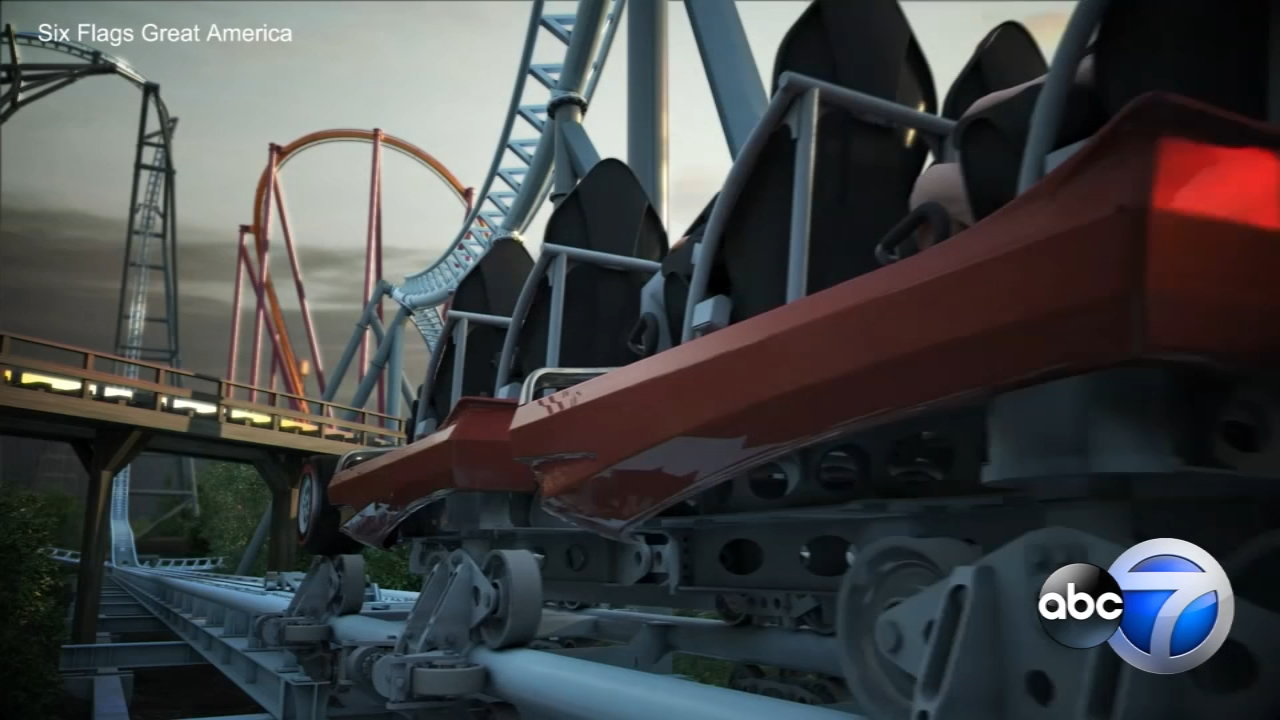 Take a virtual ride on Six Flags Great Americas newest roller coaster, Maxx Force.