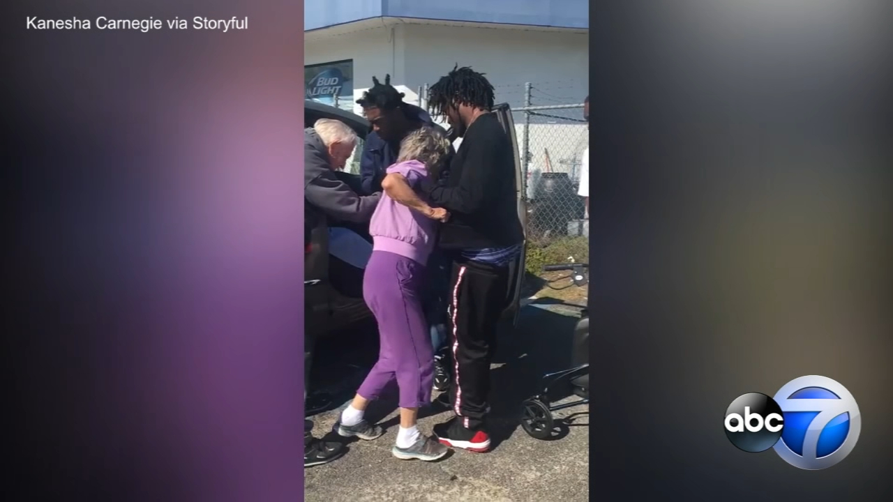 A heartwarming act of kindness was caught on camera as a group of young men encountered an elderly couple who needed help getting into their van.