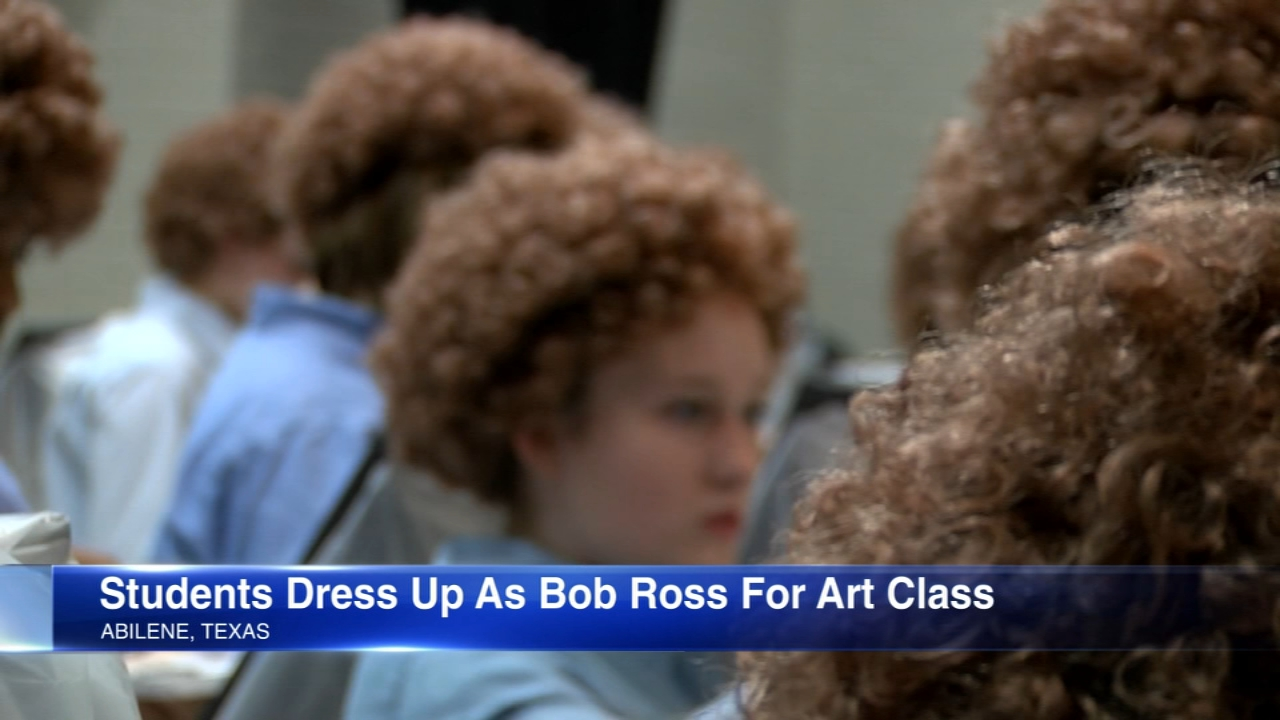 A Texas art teacher had their students dress up as Bob Ross for a painting class.