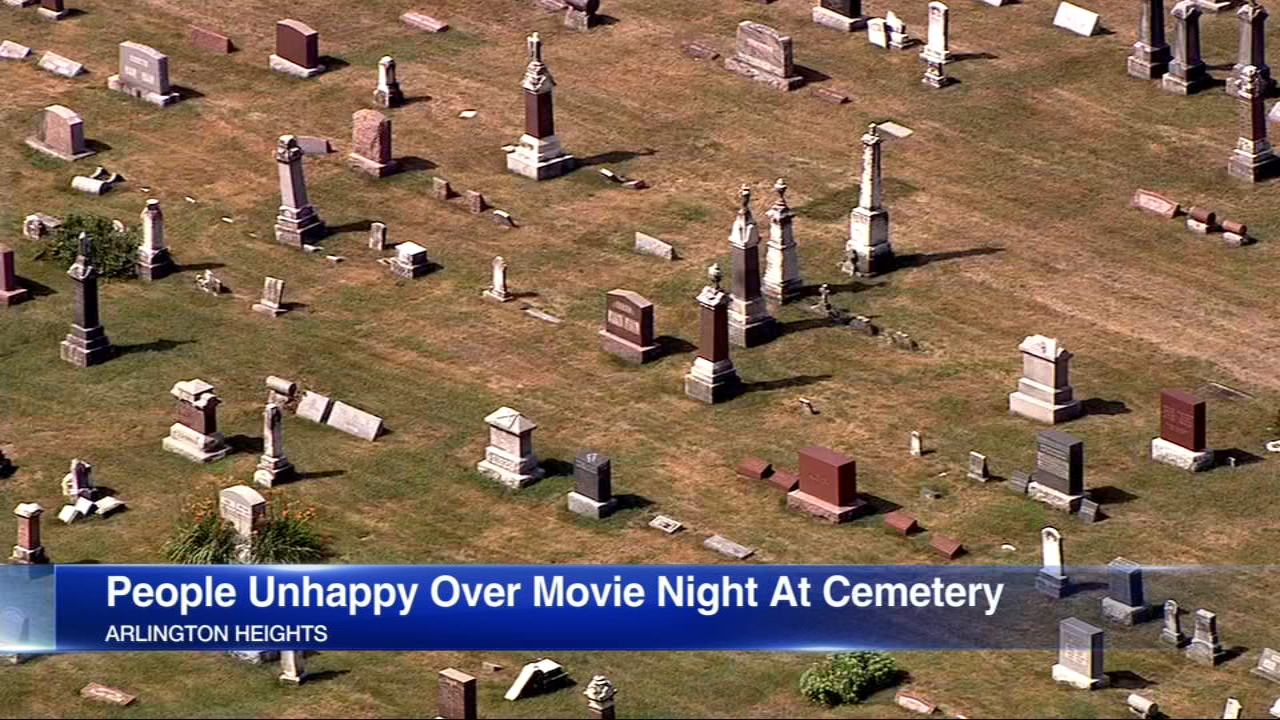 Some people are unhappy about a movie night scheduled to take place Saturday at a suburban cemetery.