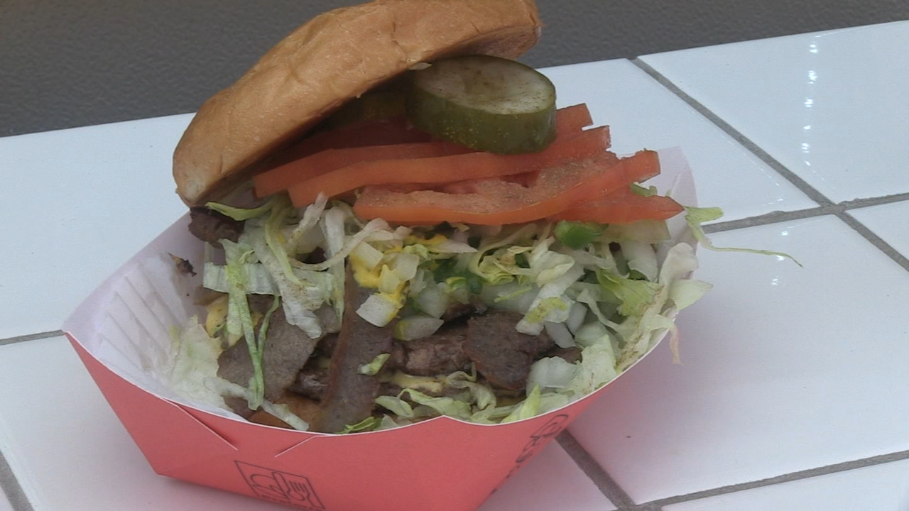 In Steve's Extra Course video, he goes back to Byron's to try one of their special double cheeseburgers that comes with gyros on top.